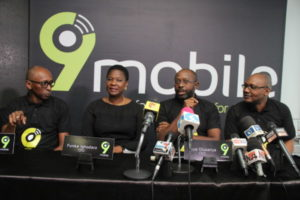 Vice President, Regulatory and Corporate Affairs, Ibrahim Dikko; Chief Executive Officer, Boye Olusanya; Chief Financial Officer, Funke Ighodaro and Vice President, Marketing, Adebisi Idowu all of 9mobile at the launch of 9mobile's new brand identity