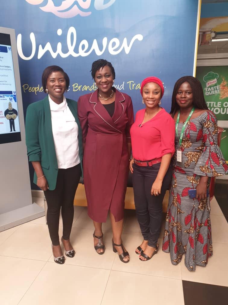 (Left to Right): Mrs. Bunmi Adeniba, Homecare Director of Ghana and Nigeria, Mrs. Ediri Ose- Ediale; ADVAN Executive Secretary, Nnenna Osi- Anugwa Marketing Manager of Savory Ghana and Nigeria, Adetola Adeshina Executive Assistant Unilever Nigeria.